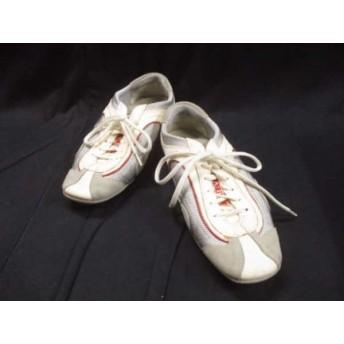 【中古】 プラダスポーツ スニーカー 37 レディース アイボリー シルバー レッド レザー 化学繊維