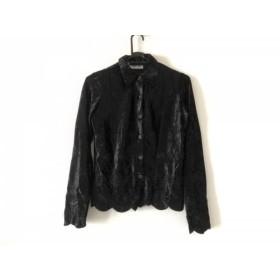 【中古】 ナラカミーチェ NARACAMICIE 長袖シャツブラウス サイズ1 S レディース 黒 ベロア/フラワー/刺繍