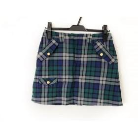 【中古】 サマンサタバサ ミニスカート サイズ38 M レディース グリーン ネイビー マルチ チェック柄