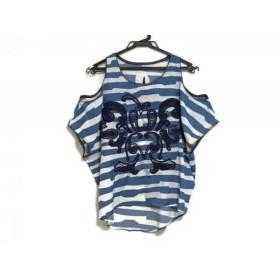 【中古】 オキラク ノースリーブカットソー サイズXS レディース ライトブルー 白 ネイビー 刺繍