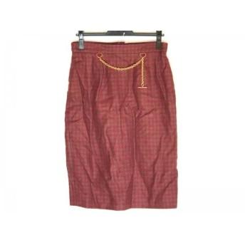 【中古】 セリーヌ CELINE スカート サイズ40 M レディース カーキ レッド 千鳥格子
