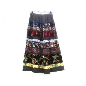 【中古】ケンゾー KENZO ロングスカート サイズ40 M レディース ダークブラウンxマルチ