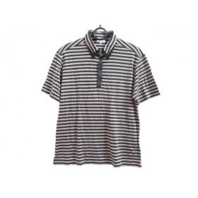 【中古】 ランバンオンブルー 半袖ポロシャツ サイズ48 XL メンズ 黒 グレーベージュ ボーダー