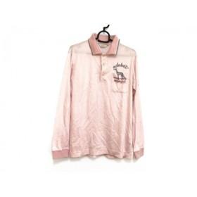 【中古】 アダバット Adabat 長袖ポロシャツ サイズ46 XL メンズ ピンク グレー チェック柄/刺繍