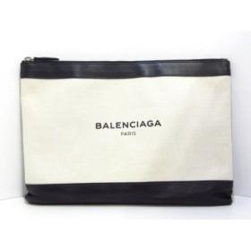 【中古】 バレンシアガ クラッチバッグ ネイビークリップM 420407 アイボリー 黒 キャンバス レザー