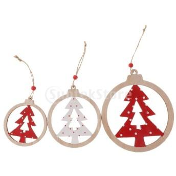 Perfeclan 3個セット クリスマス ツリー 吊り下げタグ 木製飾り DIY 雰囲気 4タイプ選べ - クリスマスツリー