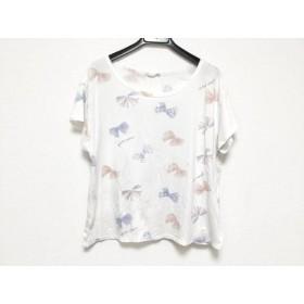 【中古】 ジェラートピケ gelato pique 半袖Tシャツ サイズF レディース 白 ブルー マルチ リボン柄