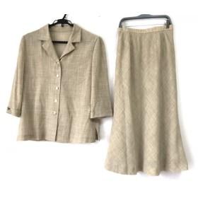 【中古】 レリアン Leilian スカートセットアップ サイズ9 M レディース ベージュ 3点セット