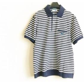【中古】 ラコステ Lacoste 半袖ポロシャツ サイズ4 XL メンズ 美品 ダークネイビー 白 ボーダー