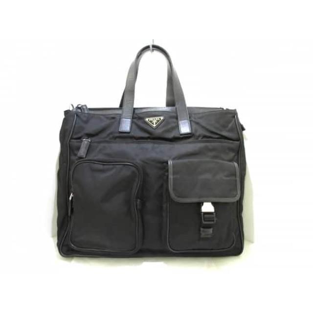 【中古】 プラダ PRADA ビジネスバッグ - 黒 ナイロン レザー