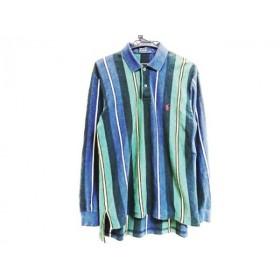 【中古】 ポロラルフローレン 長袖ポロシャツ サイズL メンズ ダークネイビー ダークグリーン マルチ