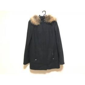 【中古】 ヒューゴボス HUGOBOSS コート サイズ42 L レディース 美品 黒 ブラウン ファー/冬物