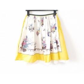 【中古】 ロイスクレヨン Lois CRAYON スカート サイズM レディース 白 イエロー マルチ 花柄/レース