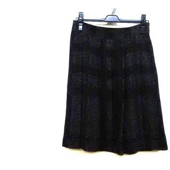 【中古】 バーバリーロンドン スカート サイズ40 L レディース 美品 黒 グレー ダークグレー
