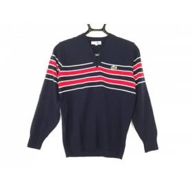 【中古】 ラコステ Lacoste 長袖セーター サイズ40 S メンズ ダークネイビー レッド 白