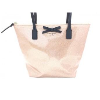 【中古】 ケイトスペード Kate spade ハンドバッグ 美品 ピンク 黒 ラメ/リボン ビニール レザー