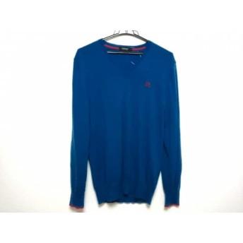 【中古】 バーバリーブラックレーベル 長袖セーター サイズ3 L メンズ 美品 ブルー レッド