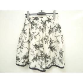 【中古】 ジャスグリッティー JUSGLITTY スカート サイズ2 M レディース 美品 白 黒 ライトグレー 花柄