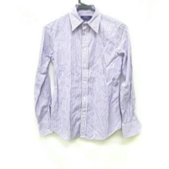 【中古】 ポロラルフローレン 長袖シャツ サイズ0150/80A メンズ パープル 白 ストライプ/CUSTOM FIT