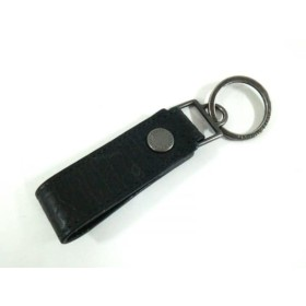 【中古】 サンローランパリ SAINT LAURENT PARIS キーホルダー(チャーム) 黒 シルバー レザー 金属素材