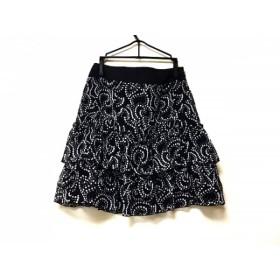 【中古】 ラグジュエル Luxjewel スカート サイズ35 レディース 美品 黒 ライトグレー フリル