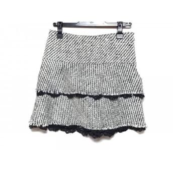 【中古】 アプワイザーリッシェ ミニスカート サイズ2 M レディース 白 ダークグレー 黒 ラメ