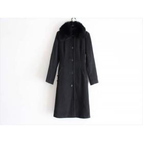 【中古】 クレイサス CLATHAS コート サイズ38 M レディース 黒 冬物/フォックスファー