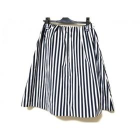 【中古】 ニジュウサンク スカート サイズ36 S レディース 美品 ライトグレー ダークネイビー ストライプ