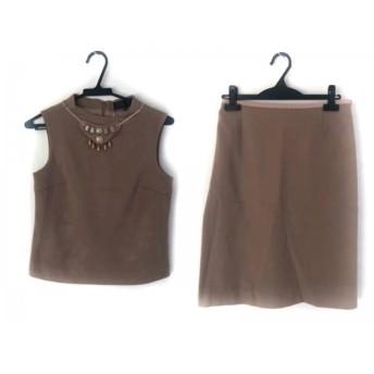 【中古】 アンタイトル UNTITLED スカートセットアップ サイズ2 M レディース 美品 ベージュ ビジュー