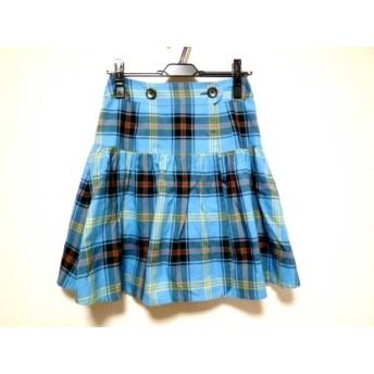 【中古】 ヨークランド YORKLAND スカート サイズ9AR S レディース ブルー 黒 マルチ チェック柄