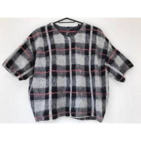 【中古】 マカフィ MACPHEE 半袖セーター サイズ1 S レディース グレー 黒 レッド チェック柄