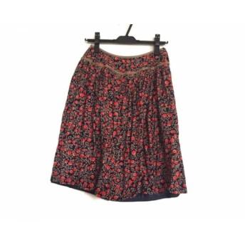 【中古】 サリースコット Sally Scott スカート サイズ9 M レディース ネイビー ブラウン レッド 花柄