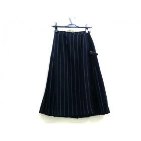 【中古】 ラモードロペ LA MODE ROPE 巻きスカート サイズ9 M レディース ネイビー ホワイト