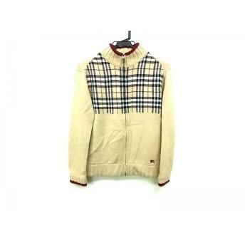 【中古】 バーバリーブラックレーベル 長袖セーター サイズ1 S メンズ ベージュ 黒 レッド