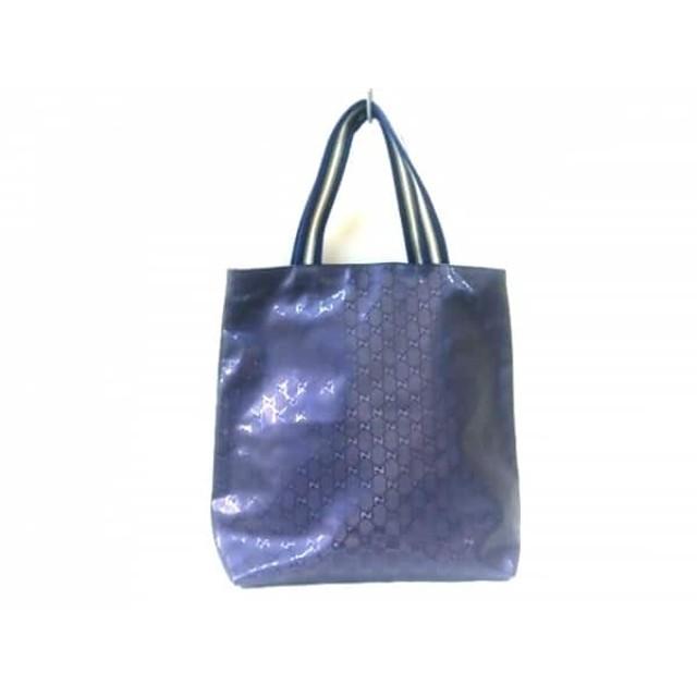 【中古】 グッチ トートバッグ インプリメ 337906 ネイビー アイボリー PVC(塩化ビニール) キャンバス