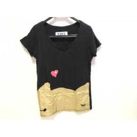 【中古】 ツモリチサト TSUMORI CHISATO 半袖Tシャツ サイズ2 M レディース 黒 ゴールド cats