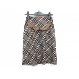【中古】 バーバリーブルーレーベル スカート サイズ38 M レディース ダークブラウン 黒 ライトブルー