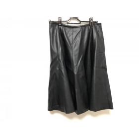 【中古】 レリアン Leilian スカート サイズ9 M レディース 黒 フェイクレザー