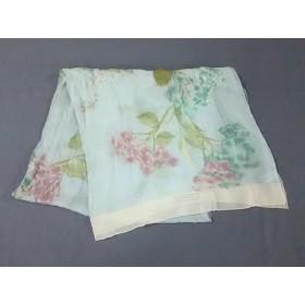 【中古】 サルバトーレフェラガモ ストール(ショール) 美品 ライトグリーン ピンク マルチ 花柄 シルク