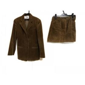 【中古】 ダナキャラン DKNY スカートスーツ サイズ4 XL レディース ブラウン コーデュロイ