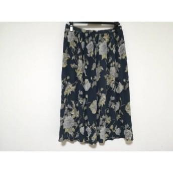 【中古】 バーバリーズ Burberry's ロングスカート サイズ11 M レディース グレー アイボリー 花柄
