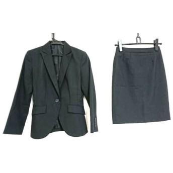 【中古】 コムサイズム COMME CA ISM スカートスーツ サイズS レディース 黒 グレー ストライプ