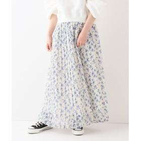 SLOBE IENA フラワープリント プリーツ スカート◆ ナチュラル 40