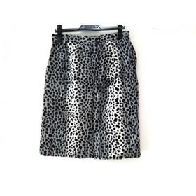 【中古】 イタリヤ スカート サイズ11 M レディース グレー 黒 白 フェイクファー/豹柄