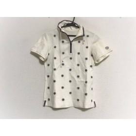 【中古】 アダバット Adabat 半袖ポロシャツ サイズ36 S レディース アイボリー パープル 刺繍