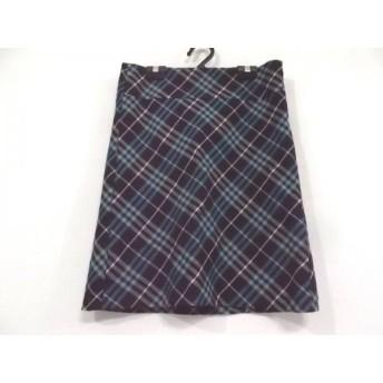 【中古】 バーバリーブルーレーベル スカート サイズ36 S レディース ダークブラウン ブルー マルチ