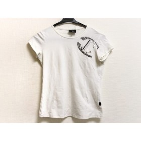 【中古】 ジャストカヴァリ 半袖Tシャツ サイズS レディース 白 黒 シルバー スパンコール/ビジュー