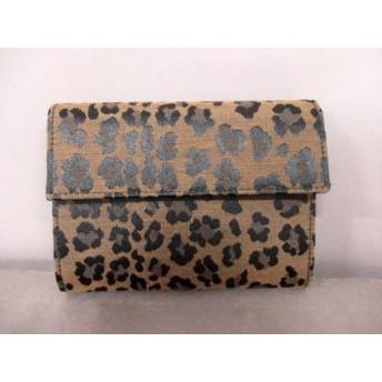【中古】 フェンディ FENDI 3つ折り財布 - 8M0001 ベージュ 黒 ダークブラウン 豹柄 ナイロンジャガード