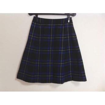【中古】 ヨークランド YORKLAND スカート サイズ9AR S レディース 美品 黒 ブルー 白 チェック柄