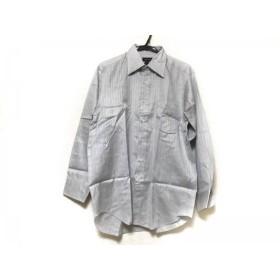 【中古】 ランバンコレクション 長袖シャツ サイズ41-84 メンズ グレー ライトグレー ストライプ